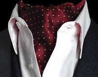 Weinrot Gold Gelb Gepunktet Herren Seide Krawatte Ascot Krawattenschal as17