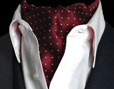 Burgundy Red & Gold Yellow Polka Dot Mens Silk Cravat Ascot Tie Scarf a17