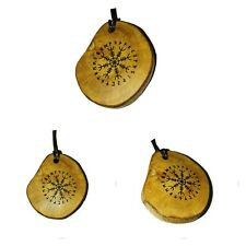 Aegishjalmur Helm of Awe Necklace Wooden Charm Handmade Engraved  Norse Viking