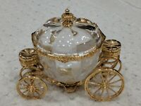 Franklin Mint Cinderella Crystal Gold Plated Coach w/Lid Disney Carriage Bowl