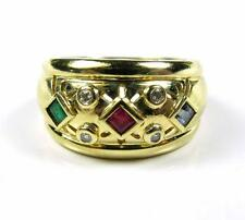 Women Sapphire Emerald Ruby Diamond Wide Band Wedding Ring 14K Yellow Gold