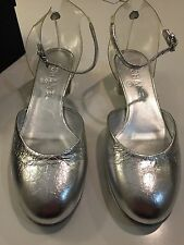 17S New  Auth. Chanel  Crinkle Silver Leather Transparent Jelly Sandals Shoes