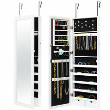 Mirrored Hanging Jewelry Cabinet Armoire Organizer Wall Mount W/ Keys- White
