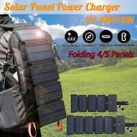 4/5 Folding Solar Power Charger Panel USB Output for Mobile Phone Power Bank New