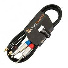 "2 x 6.35mm 1/4"" Mono Jack to 2 x RCA Phono Plug Twin Lead / Audio Signal Cable"