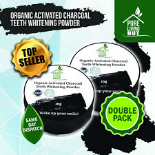 Organic Charcoal Teeth Whitening Powder & Powerful Stain Remover (Twin Pack)