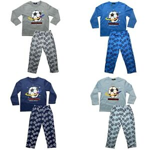 Boys Kids Pyjamas Long Sleeve Top Bottom Set Nightwear PJs Cotton Football 2-12y