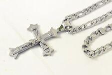"24""Stainless Steel 8MM Silver Figaro Chain Necklace Bracelet Jesus Cross Pendant"