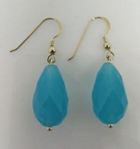 Sterling Silver Sky Blue Agate Pear Shaped Drop/Dangle Earring