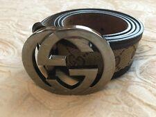 Gucci Ladies Belt - Brown Fabric Logo, Leather Trim, Interlocking G Buckle 95cm