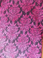 Estate Fabric Black Pink Ornate Beautiful Batik Art Deco Nouveau Garden + Quilt
