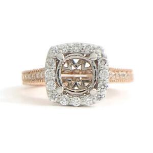 Cushion Diamond Halo Milgrain Engagement Ring Setting Mounting 14K Rose Gold