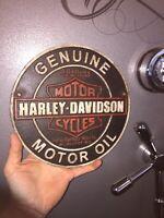 "Harley Davidson Motorcycles Garage Cast Iron Sign 9"" Patina Indian Triumph Ex"