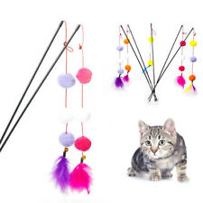 Pet Cat Feather Ball Stick Teasing Toy Kitten Interactive Toys Wand Random Color