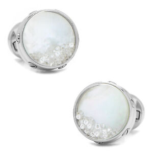 Ox and Bull Trading Co. Mother of Pearl Floating Crystals Cufflinks