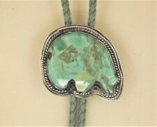 PAULA KITCHEN STERLING AND TURQUOISE ZUNI BEAR BOLO TIE