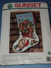 DIMENSIONS SUNSET WOODLAND WILDLIFE NEEDLEPOINT STOCKING KIT 19015 BUNNY BIRDS