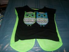 Beautees Black Green Owl Top Size Girls L 14