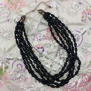 "Jay King DTR Sterling Silver 925 Black Coral 6 Strands Statement Necklace 18"""