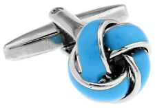 Knot Pair Cufflinks Light Blue Elegant Wedding Fancy Gift Box & Polishing Cloth