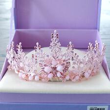 Luxury Wedding Bridal Crystal Queen Pink Butterfly Crown Headband Tiara Jewelry