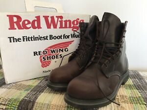 Mens REDWING SHOES Size 12 E Dark Brown Vintage Super Sole Leather Work Boots
