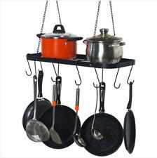 New ListingPot Rack Ceiling Mount Cookware Rack Hanging Hanger Organizer with Hooks, Black
