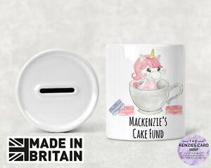 Personalised Any Name Savings Children Unicorn Cake Fund Money Box Piggy Bank