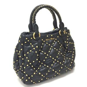 MIUMIU Quilted Studs Shoulder Crossbody 2 way bag Leather Black/Gold