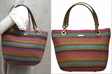 Eric Javits Clip bucket tote Multi-color stripes  BRAND NEW