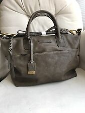 New Frye $458 Jenny Distressed Leather Satchel Handbag In Gray with Dust Bag