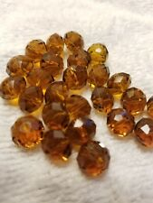 25 pcs 9mm Root Beer Brown Rondelle Faceted Crystal Glass Loose Spacer Beads