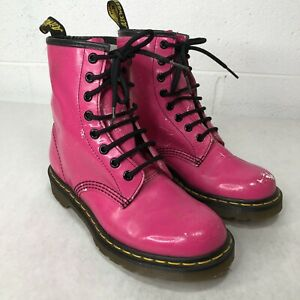 Dr. Martens Pink Combat Boots Women's Size 6 - Distressed