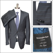 $3,995 Men's ERMENEGILDO ZENGA Su Misura Mila Navy Striped 2Btn Suit 52 42 L