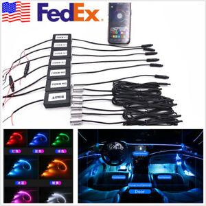 Car 64 Color LED EL Strip Inteior Atmosphere Lamp + 8M Optical Fiber APP Control