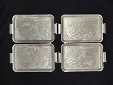 """VINTAGE SET OF 4 FLYING GEESE DUCKS ALUMINUM SNACK TRAYS 7.25"""" LONG X 4.25"""" WIDE"""