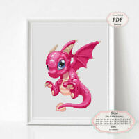 Pink Dragon - Embroidery Cross stitch PDF Pattern - 098