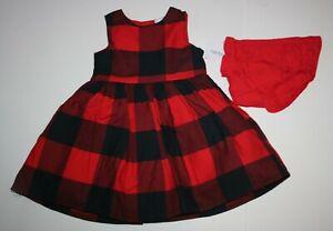 New Carter's Girls Holiday Dress Buffalo Red Black Plaid Christmas 12m 18m 24m