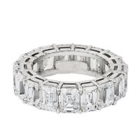 5ct Emerald Cut Diamond Iced Eternity Wedding Ring Band 18k White Gold Finish