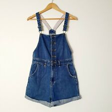 Neuw Denim Women's Patti Overalls Shorts Cuffed Button Up Blue Size 6 W 24