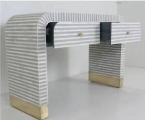 Bone Inlay Optical Design Waterfall 2 Drawers Console Table Grey