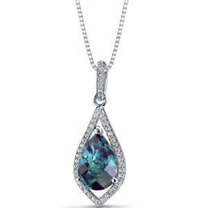 Simulated Alexandrite Teardrop Pendant Necklace Sterling Silver 3.75 Carats