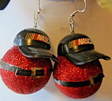 UGLY BIG SANTA 925 EARRINGS HANDMADE NASCAR HAT CHRISTMAS BLING NORA WINN