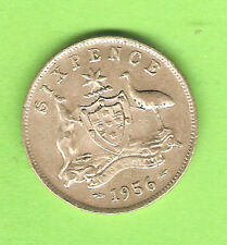 1956  AUSTRALIAN SILVER SIXPENCE COIN