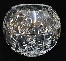 "Block Crystal Glass Rose Bowl Vase Tulip Floral Design Starburst 4 3/4"" Tall"