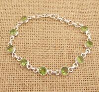 Cut Peridot 925 Sterling Silver Bracelet Indian Jewellery