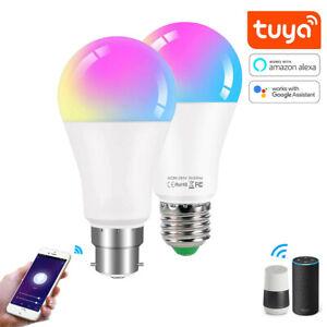 B22 E27 RGB Wifi LED Light Bulb Tuya APP Smart Dimmable For Amazon Alexa 15W 10W