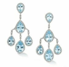 14Ct Pear Aqua Blue Topaz Synt Diamond Chandelier Earrings White Gold Fns Silver