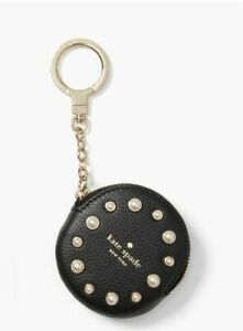 Kate Spade Women's Circle Pearl Leather Black Coin Purse Key Chain