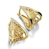 18K Yellow Gold Filled White Topaz Luxury Hollow Wing Jewelry Gift Hoop Earrings